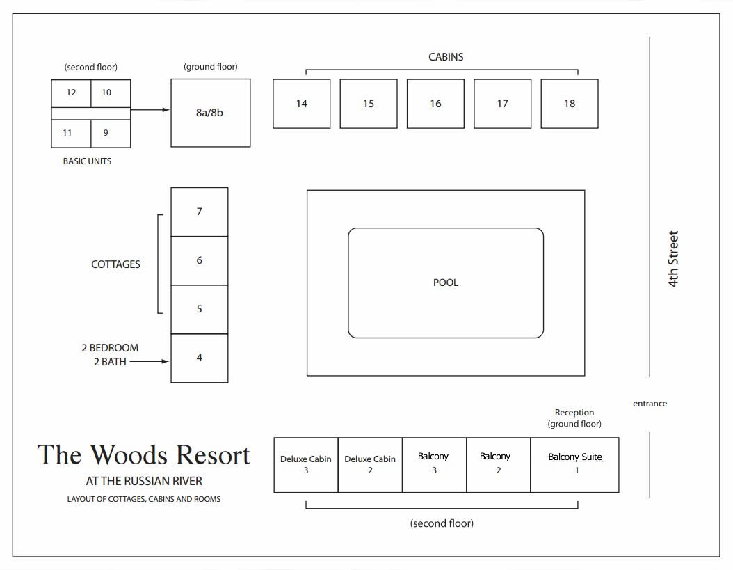 property map at the woods cottages & cabins at the russian river in guerneville